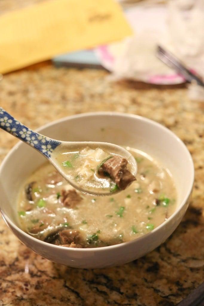 flank steak in soup bowl