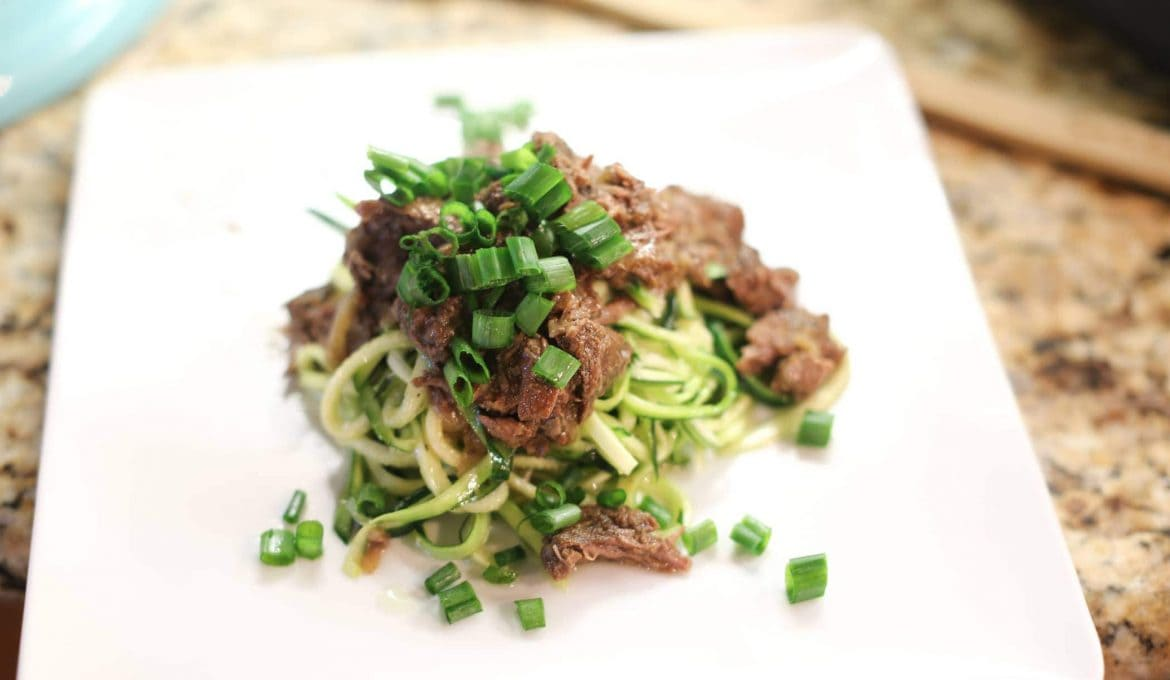 Thyme-Braised Short Ribs over Sesame Cucumber Noodles
