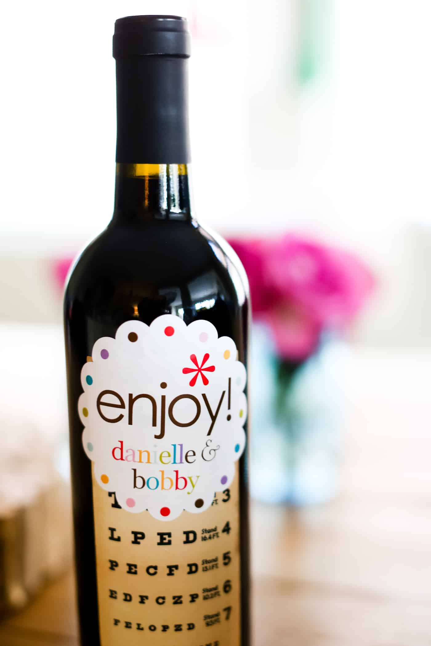 bottle of wine with gift label