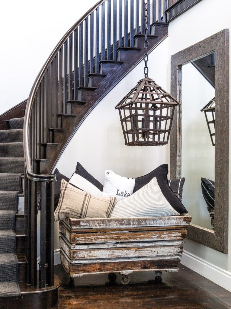 The stairwell at Diane Keaton's home in Pacific Palisades, CA.