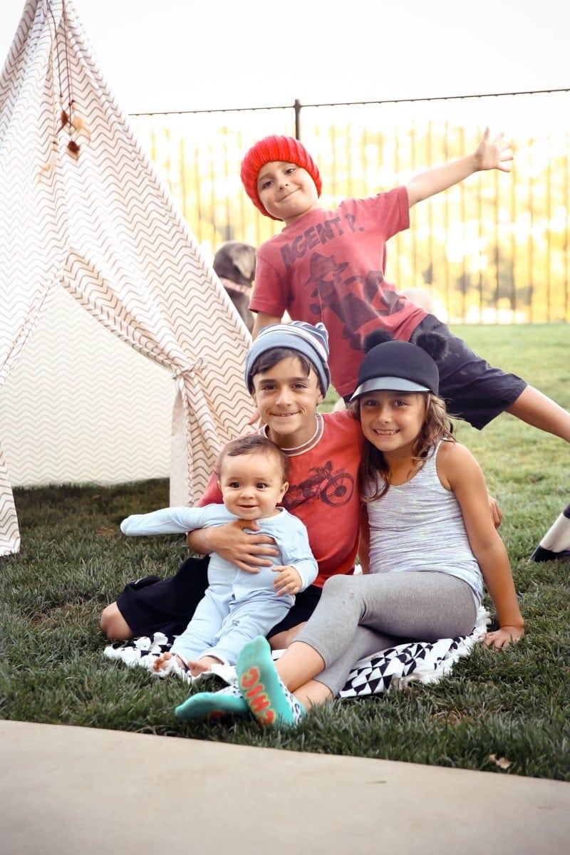 siblings in backyard