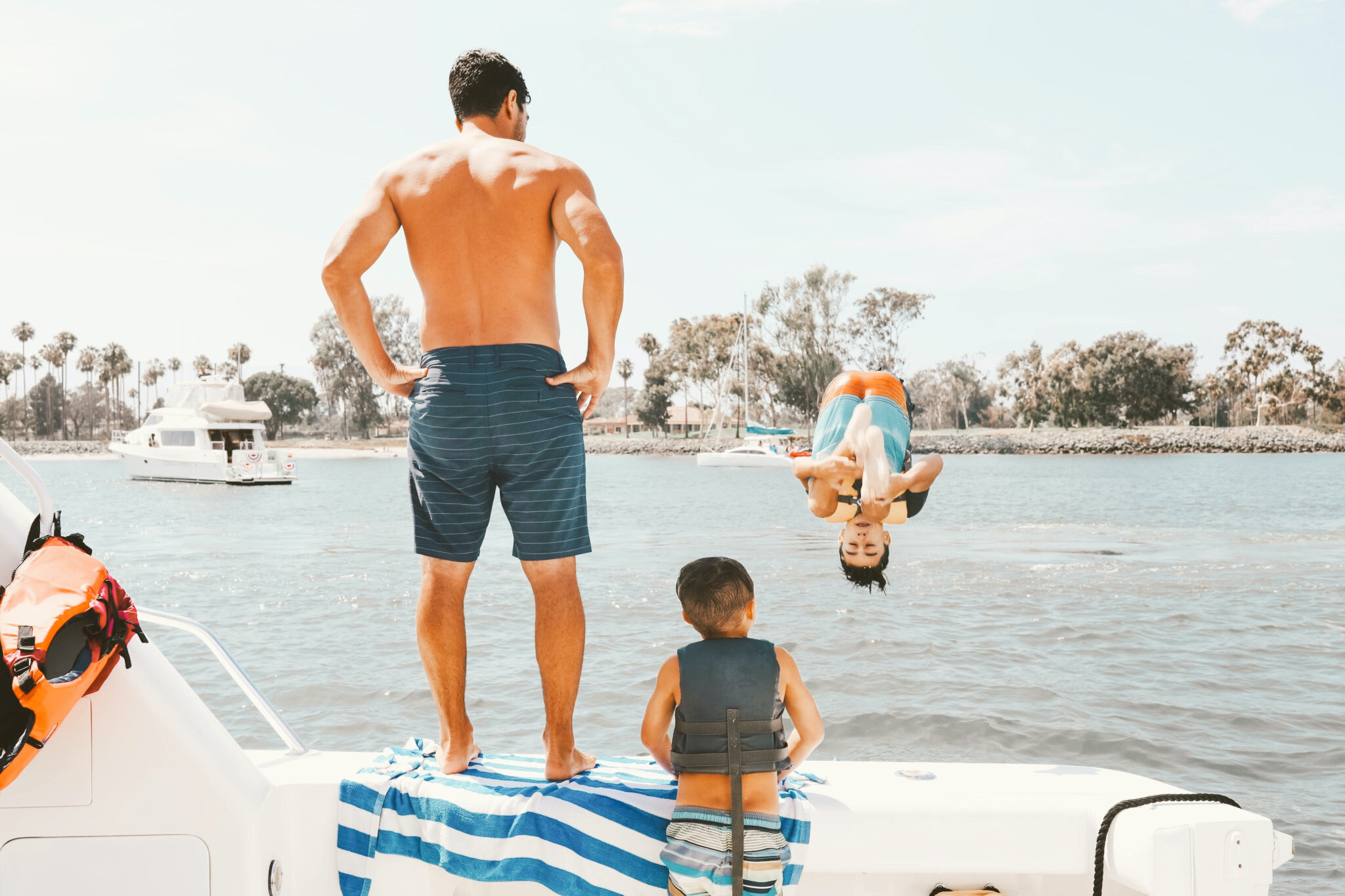 family on a boat