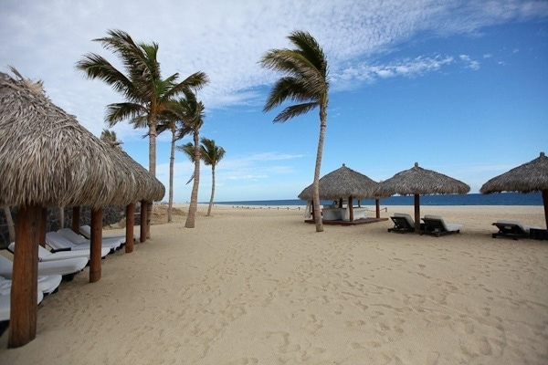 This is a view of palapa umbrellas and lounge chairs on the beach in front of Cabo Azul Resort.