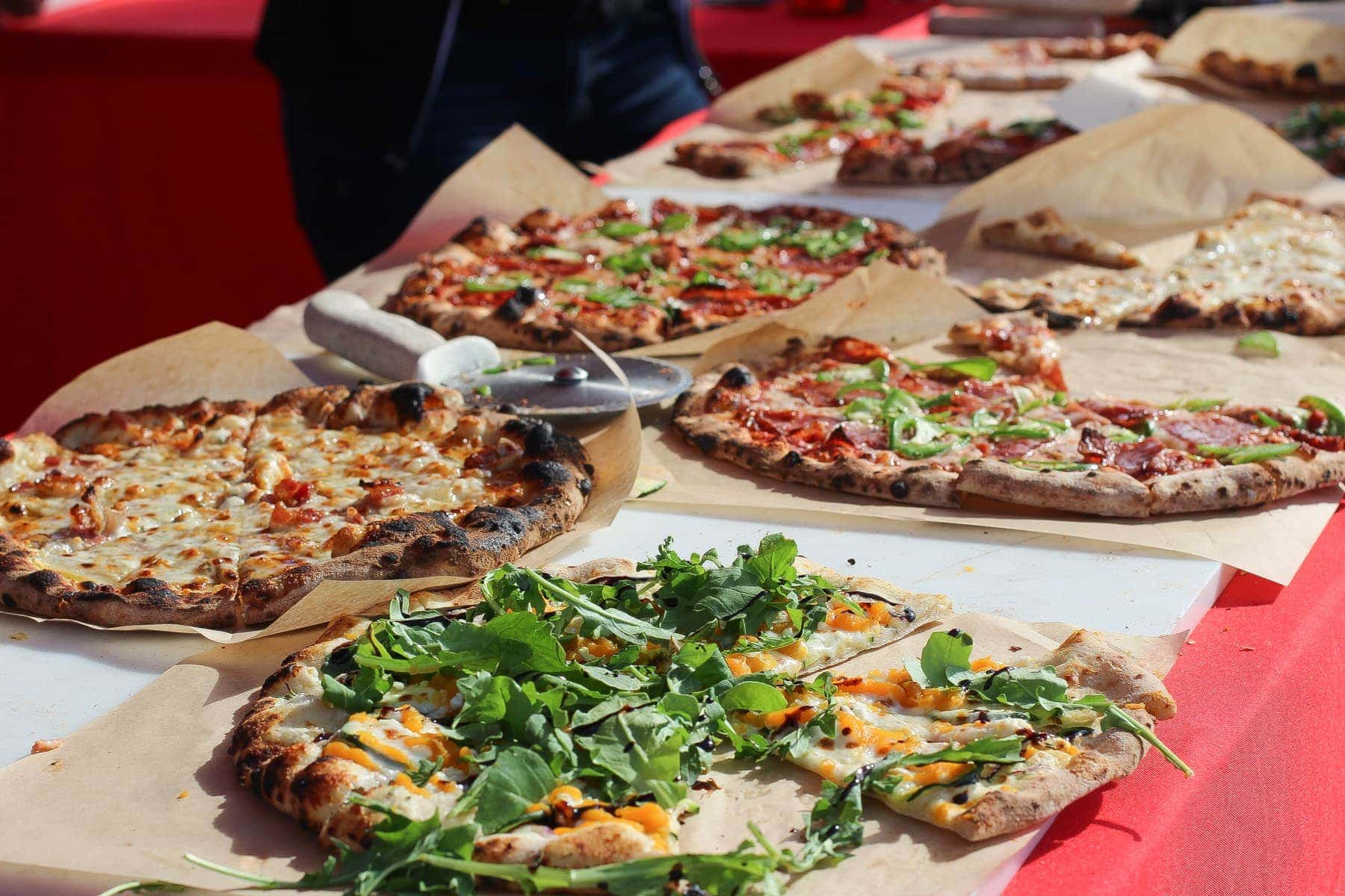 pizzas on table