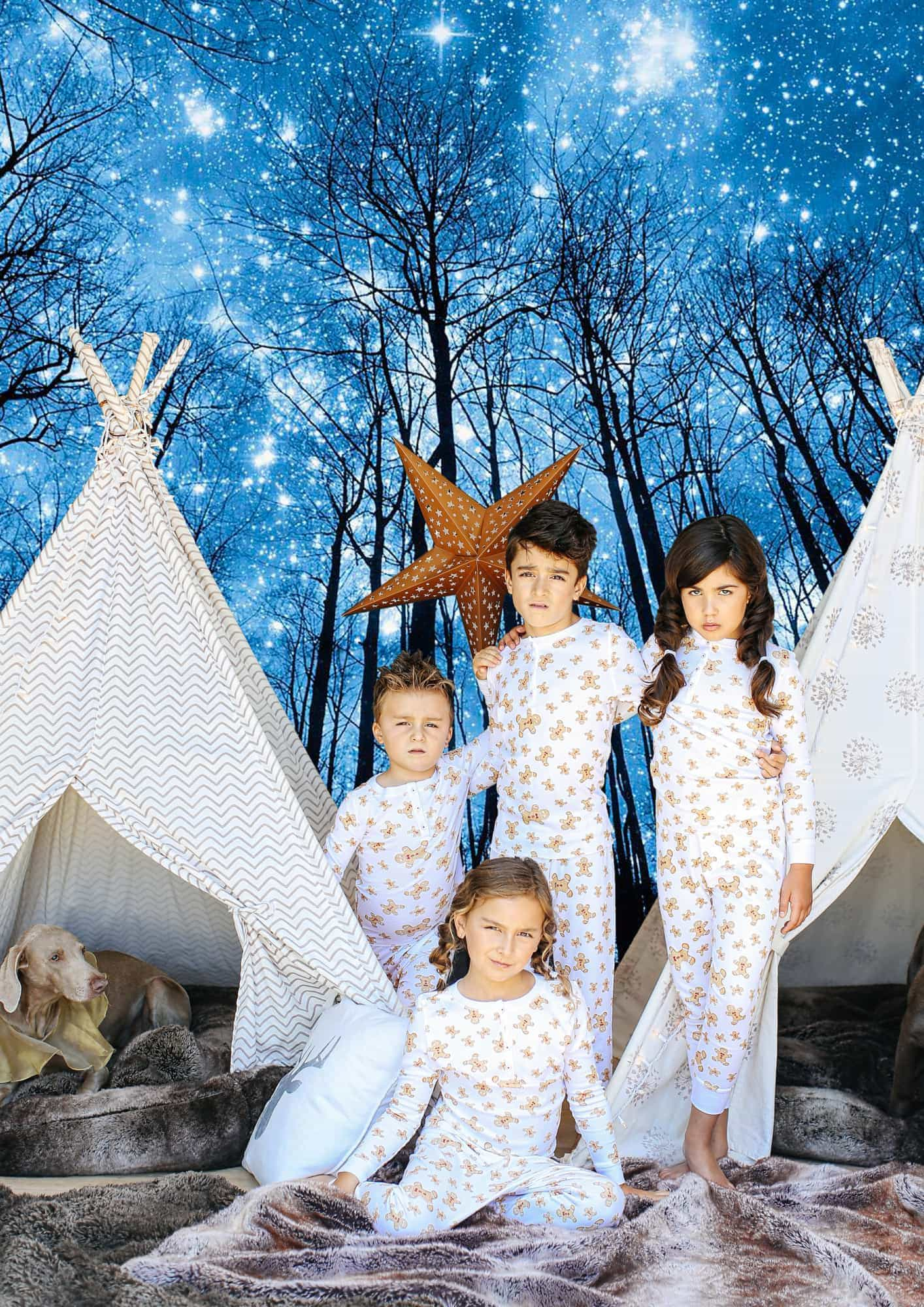 kids and dog in teepees with night sky background