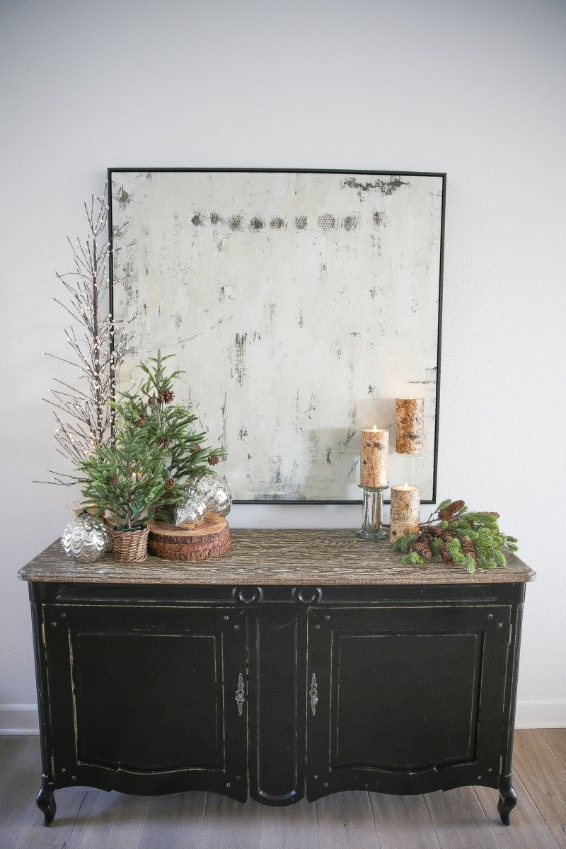 console table, trees, candles, christmas decor