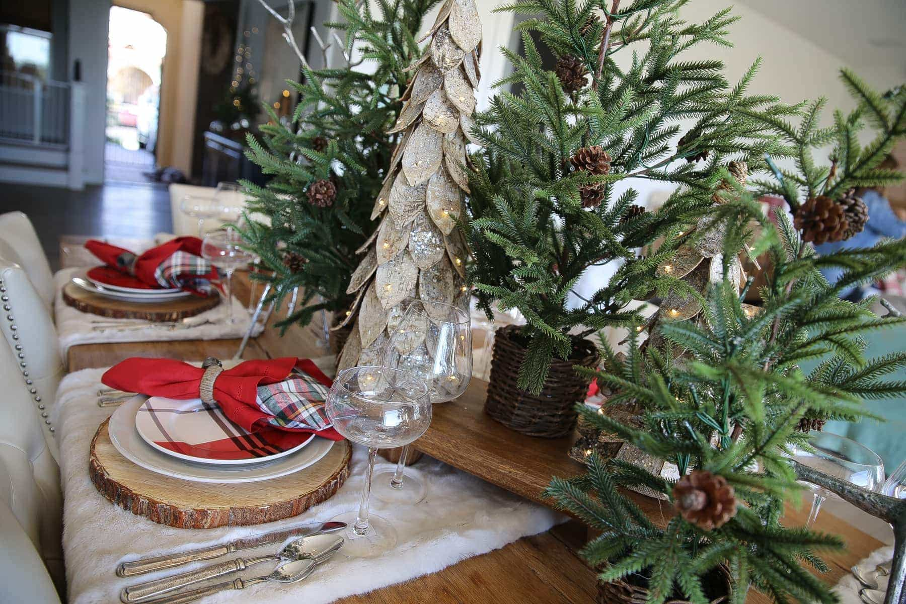 dining room decor, trees christmas