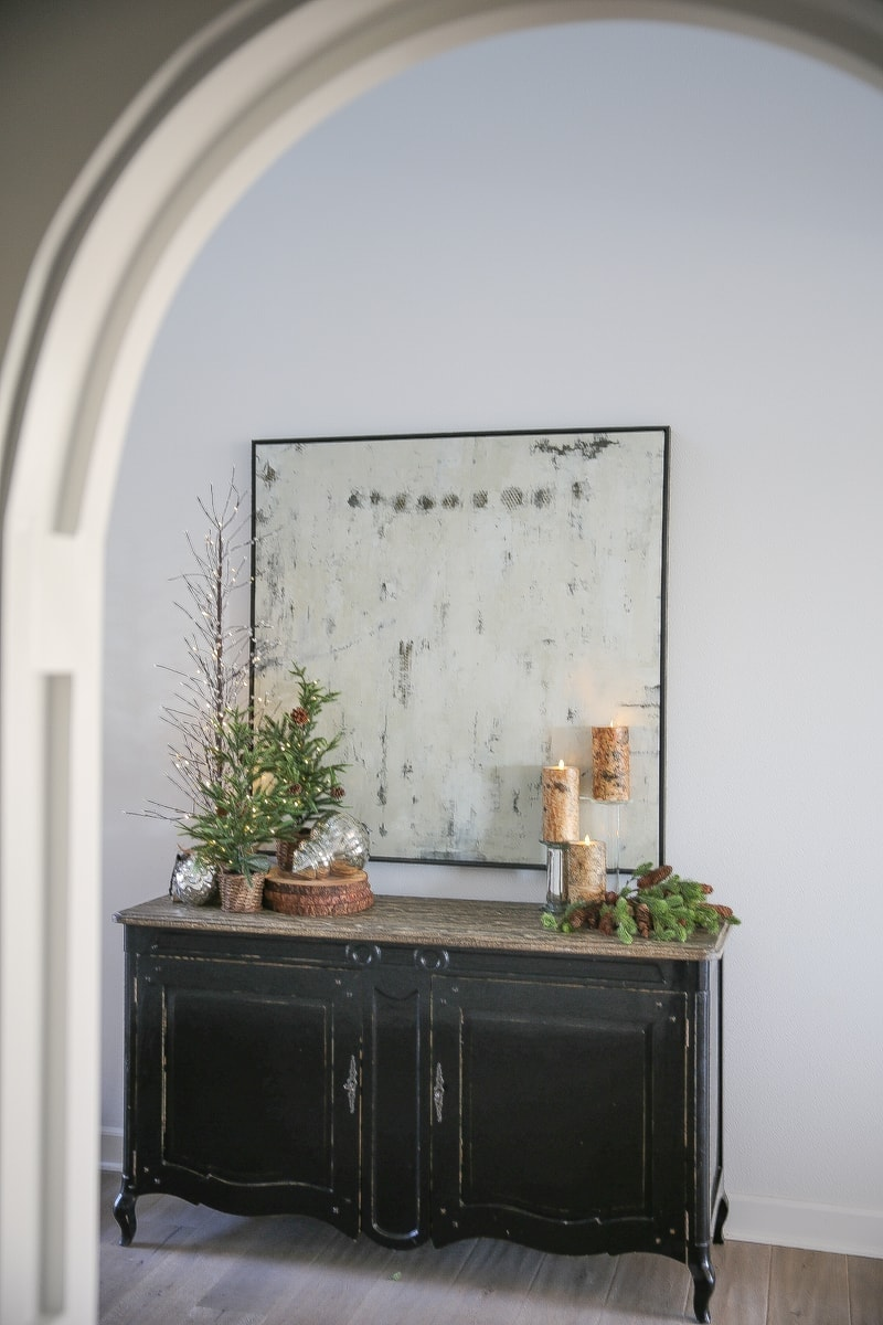 console table with christmas decor pottery barn