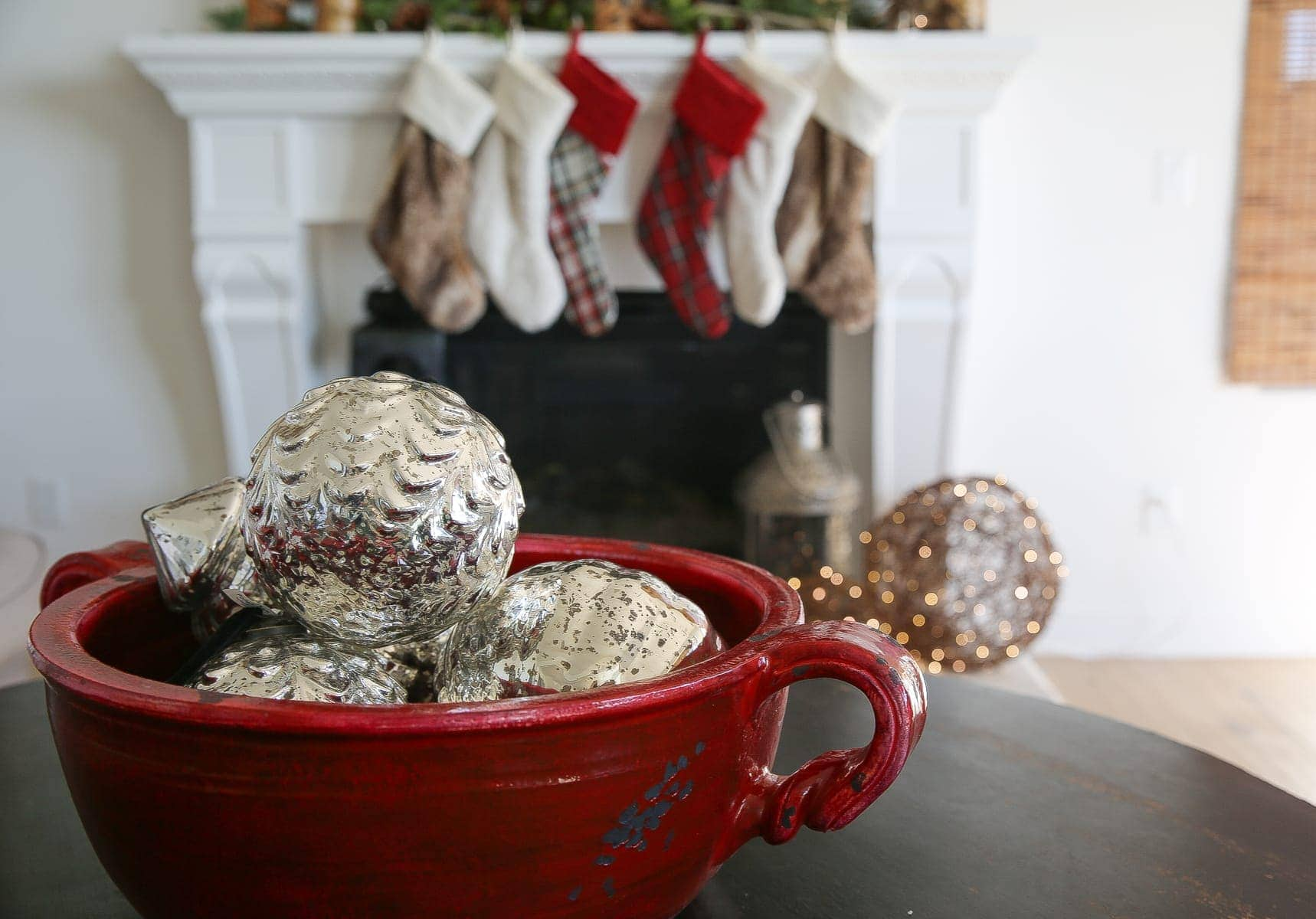 mantle stockings silver balls decor