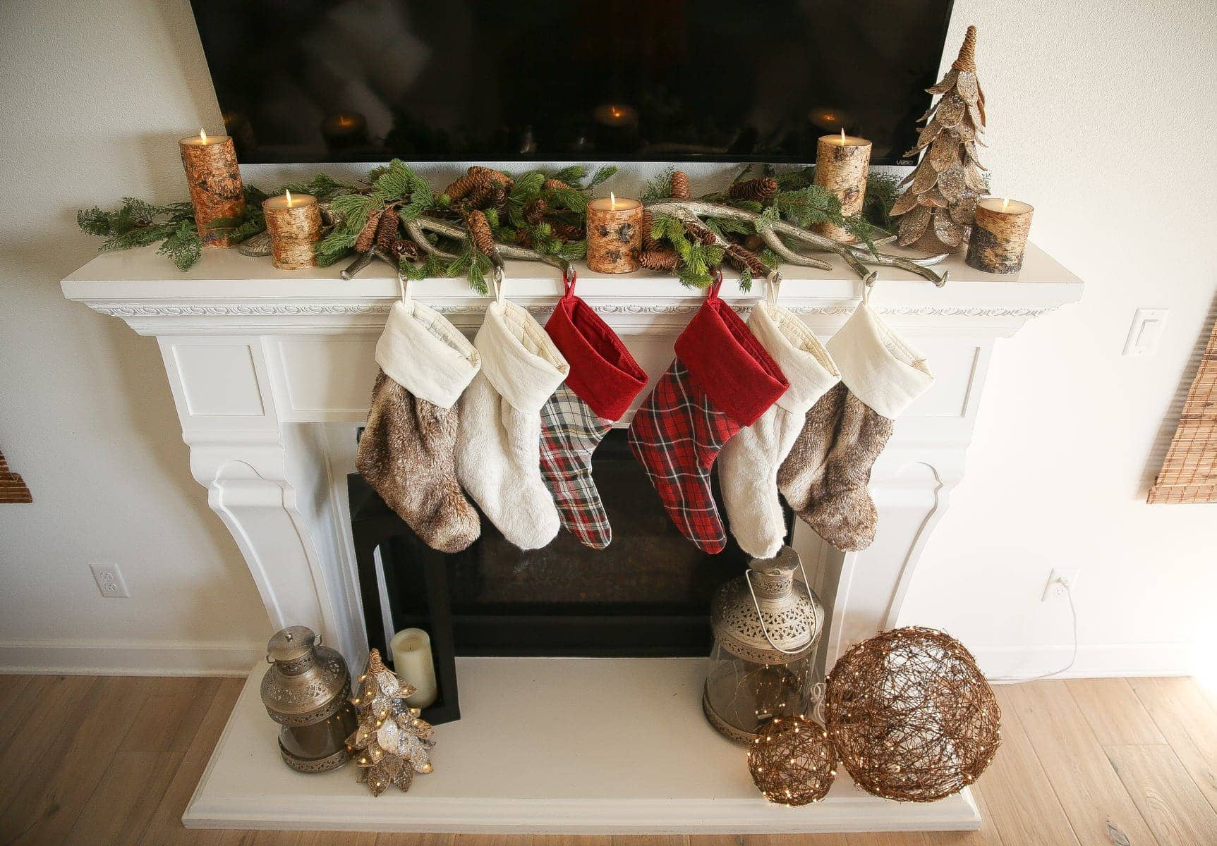 fireplace mantle with stockings