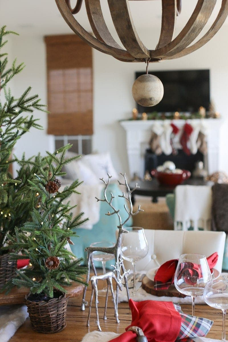 christmas decor, reindeer, mantle, table, dining