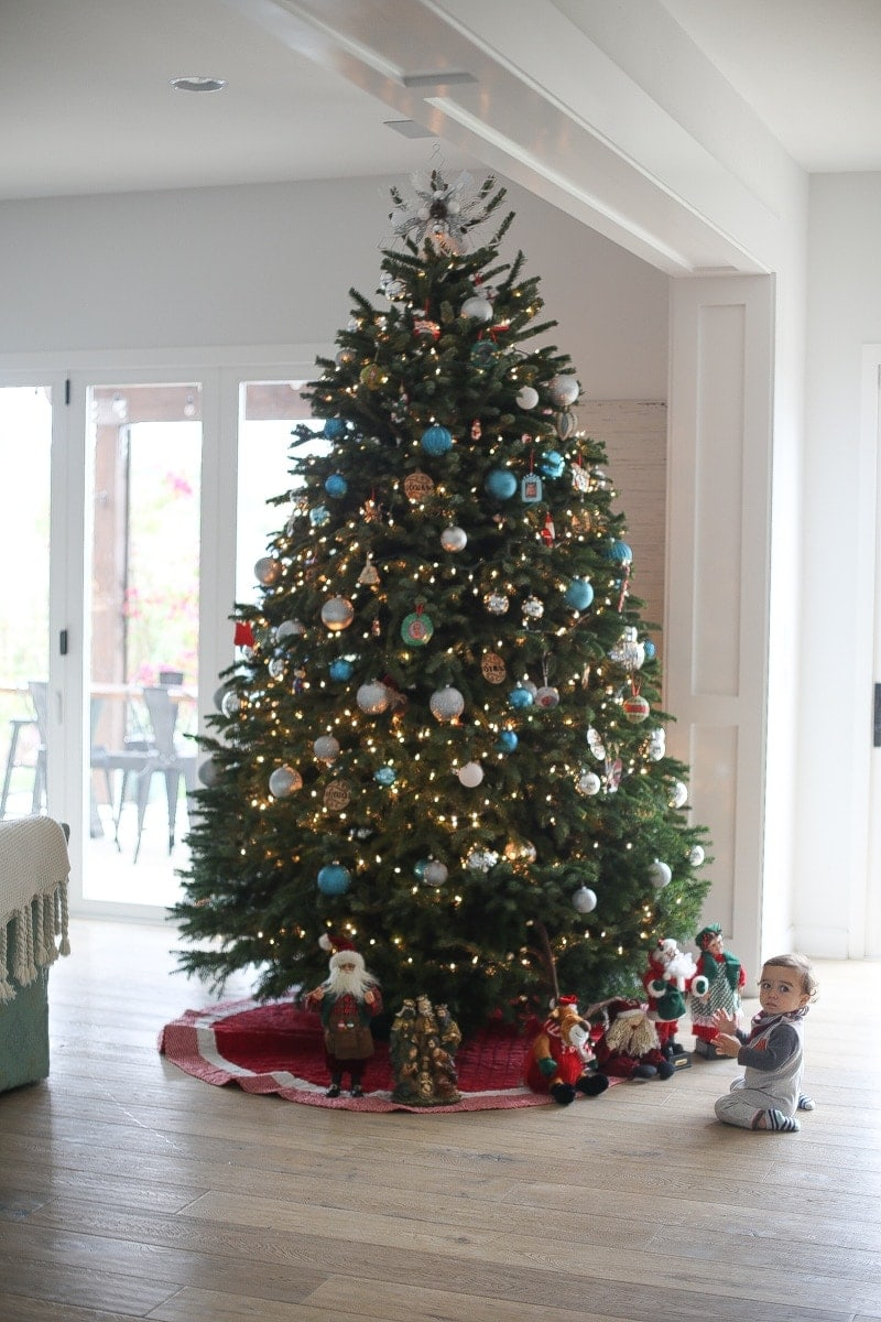 christmas tree and baby