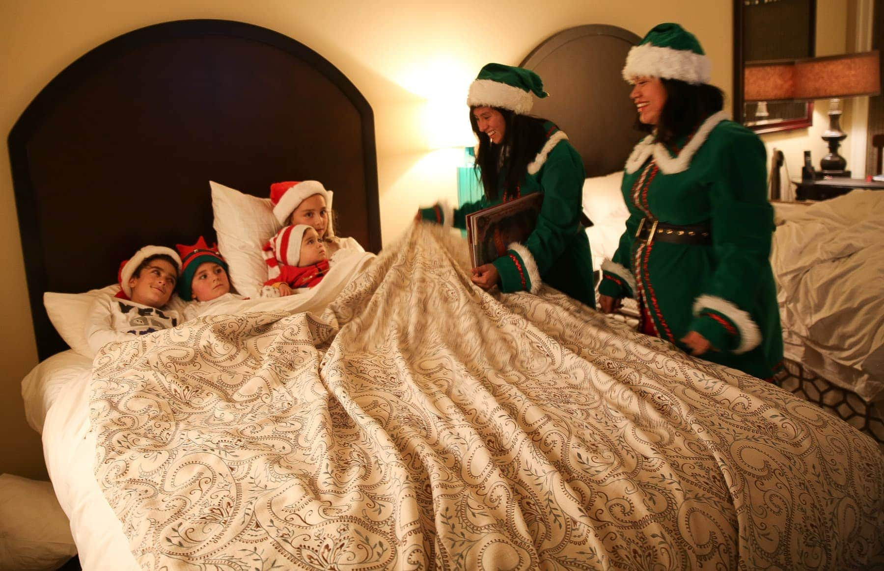 kids in bed at christmas