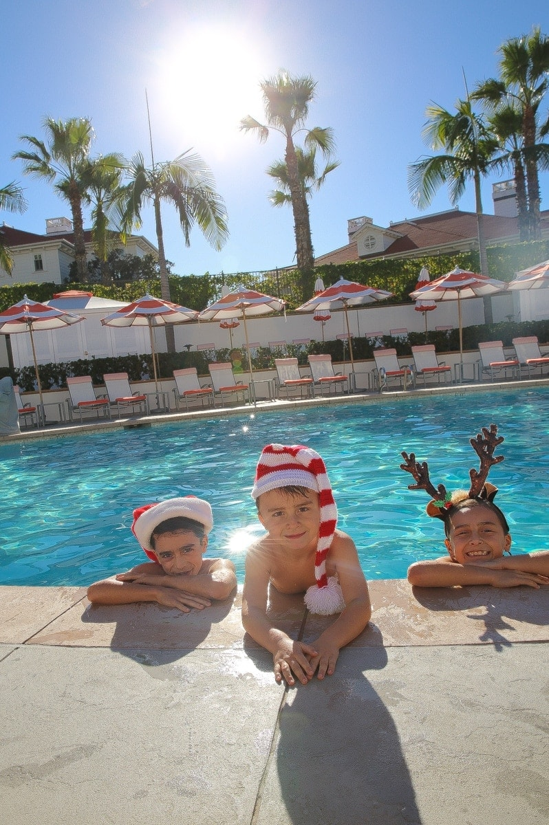 kids in the pool at christmas