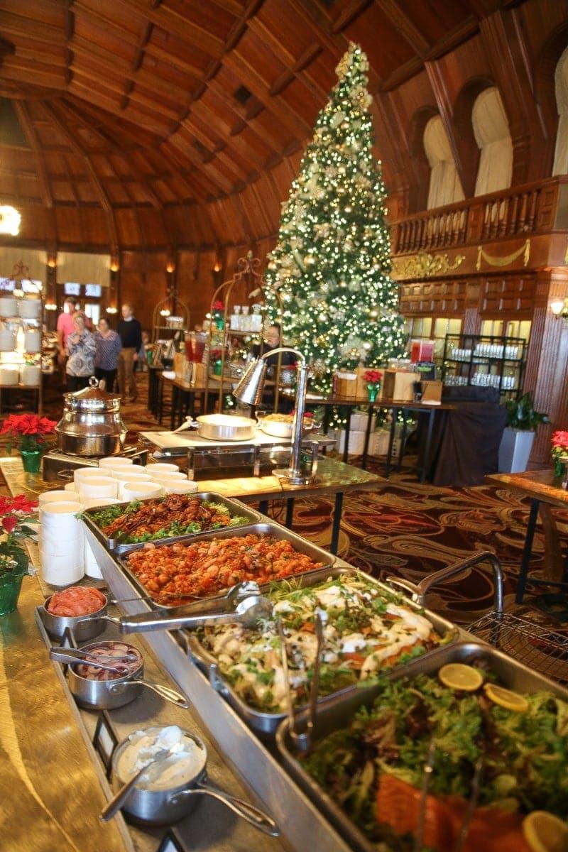 christmas tree in restaurant buffet