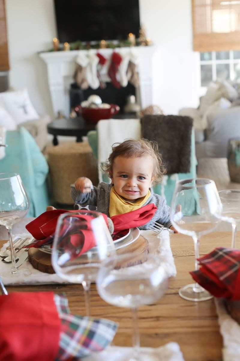 baby at christmas dining table