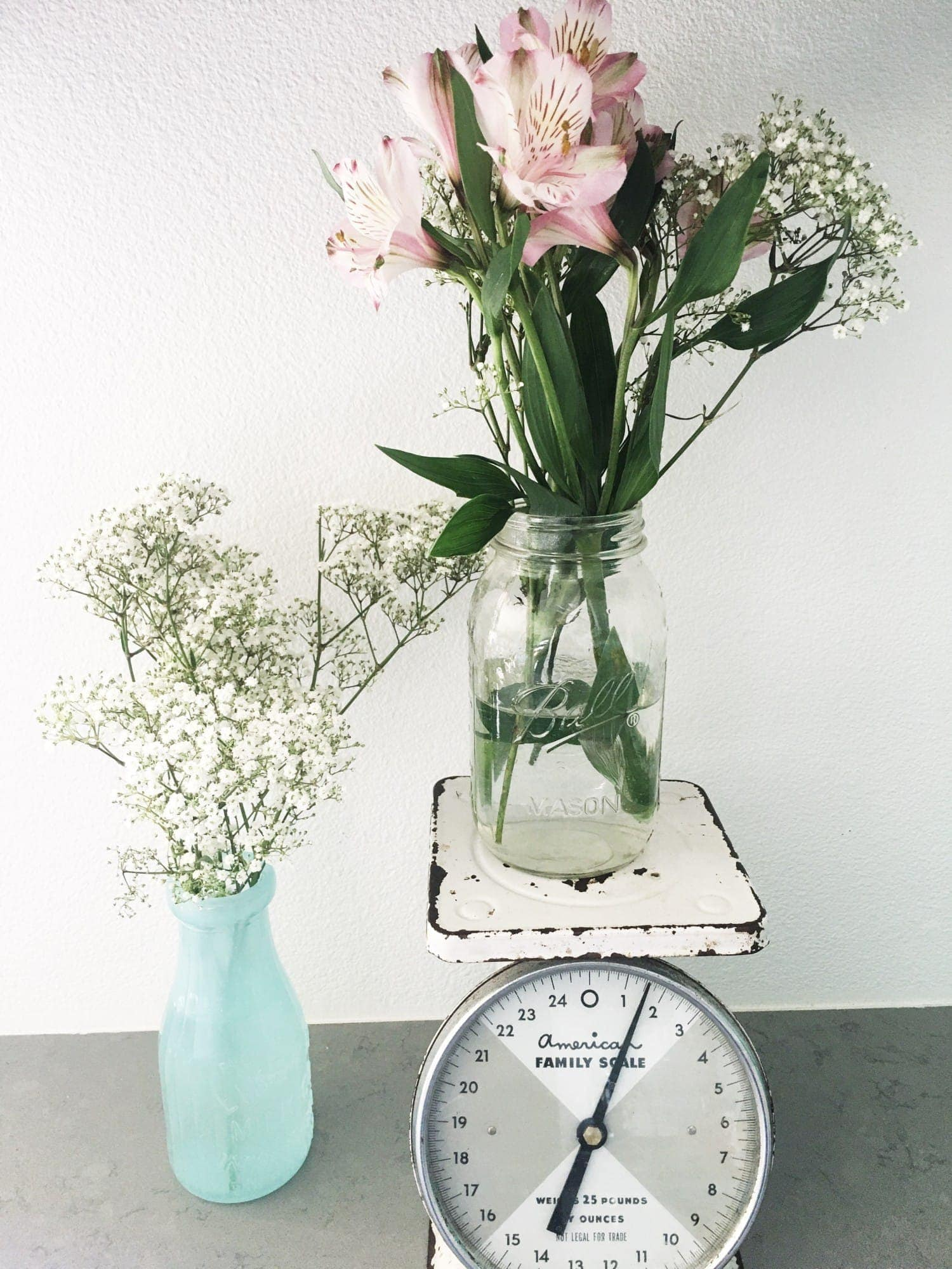 antique scale with flowers