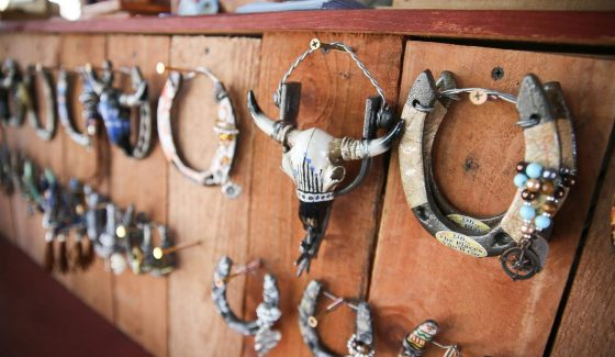 horseshoes hanging on wall