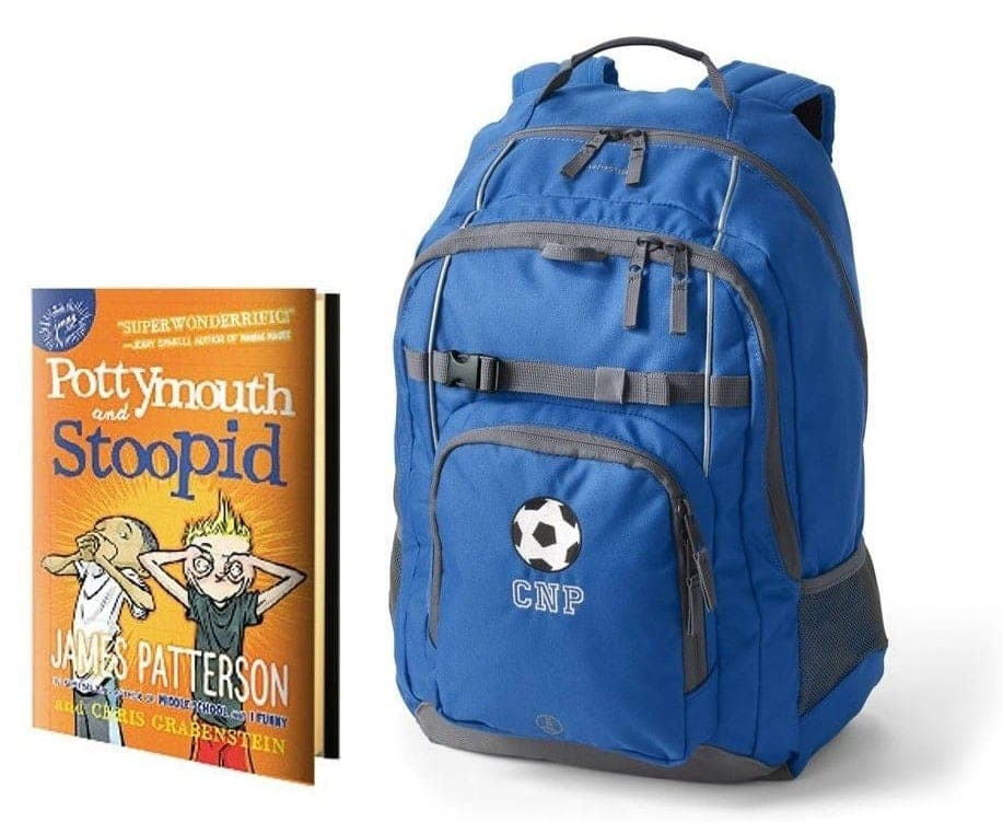 book and backpack