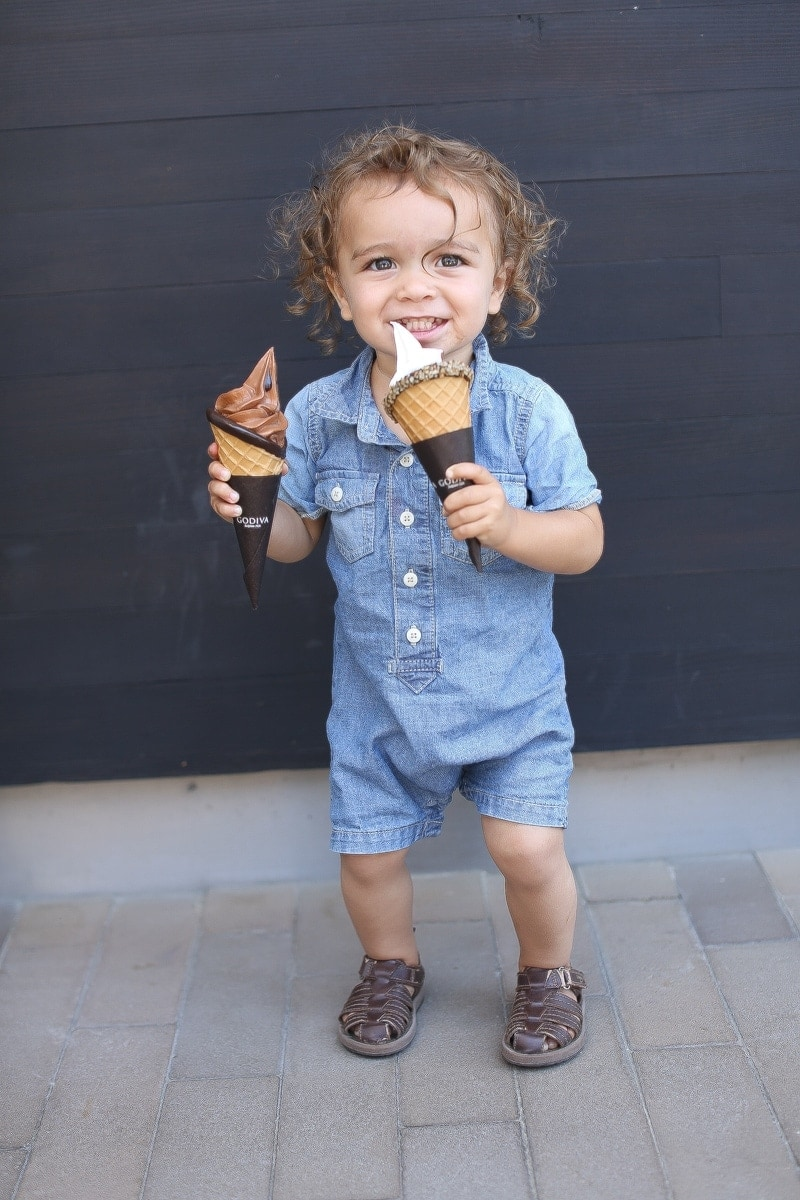 baby eating ice cream
