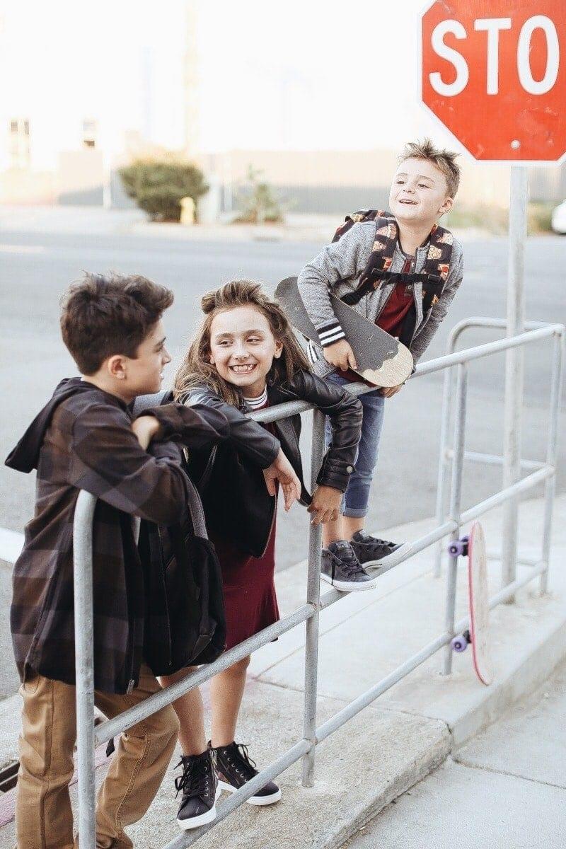 kids at bus stop