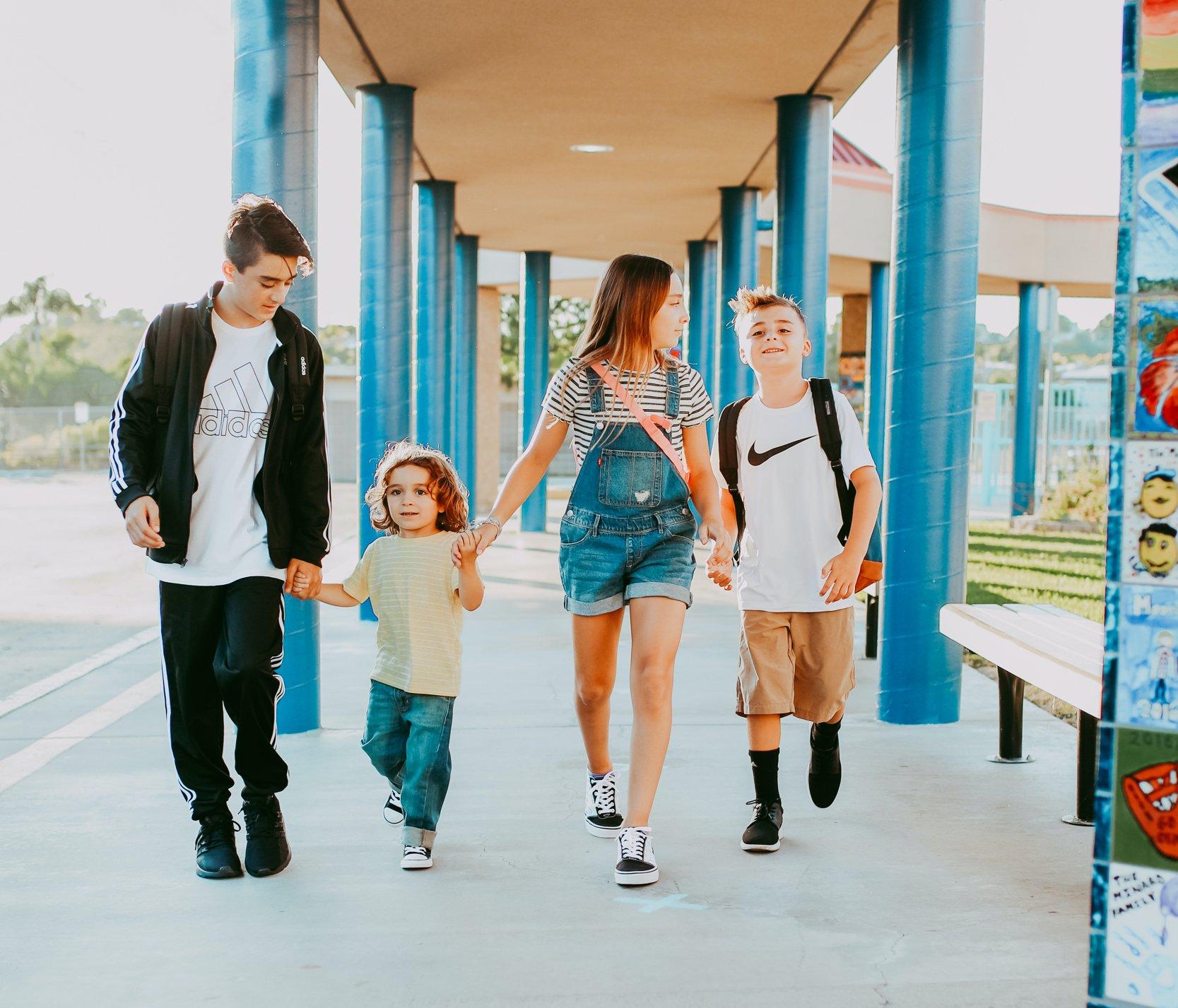 kids walking at school