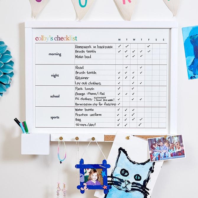 organized kids chore chart
