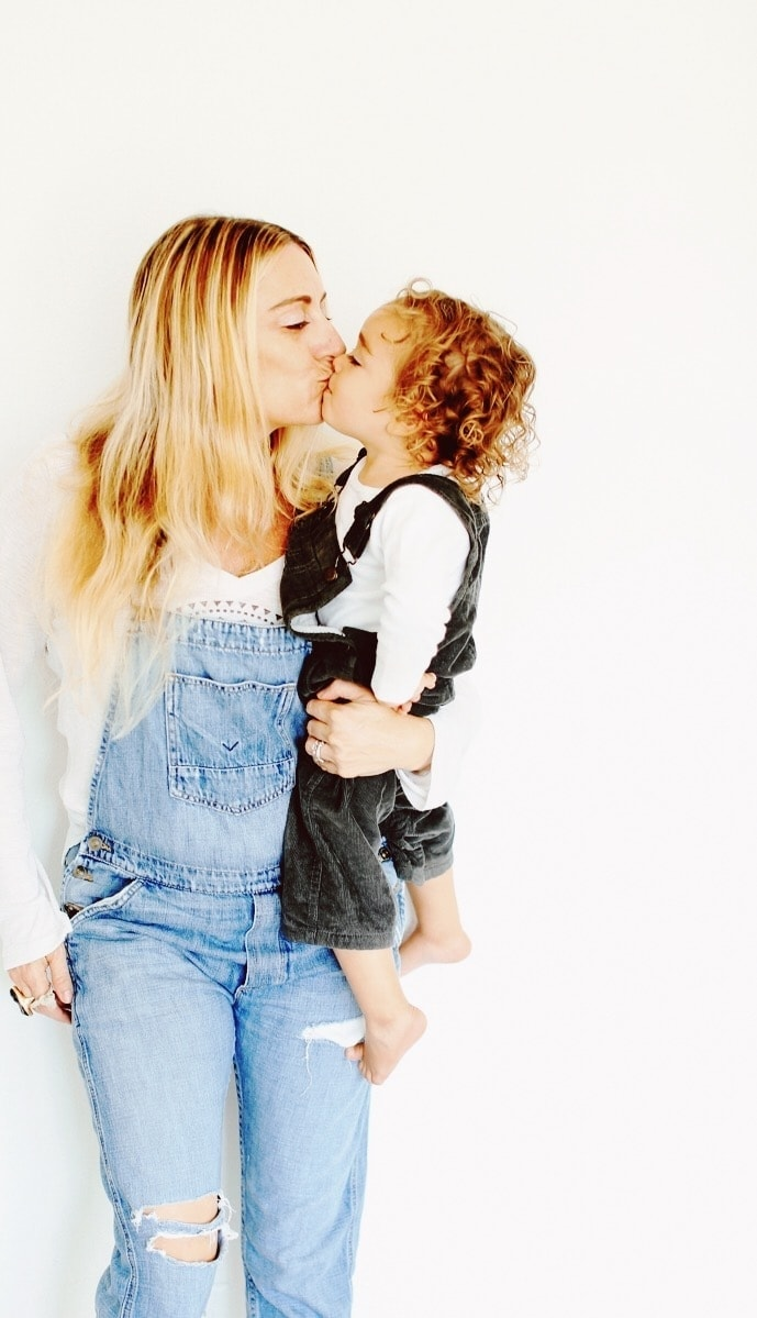 Mommy and baby twinning in overalls