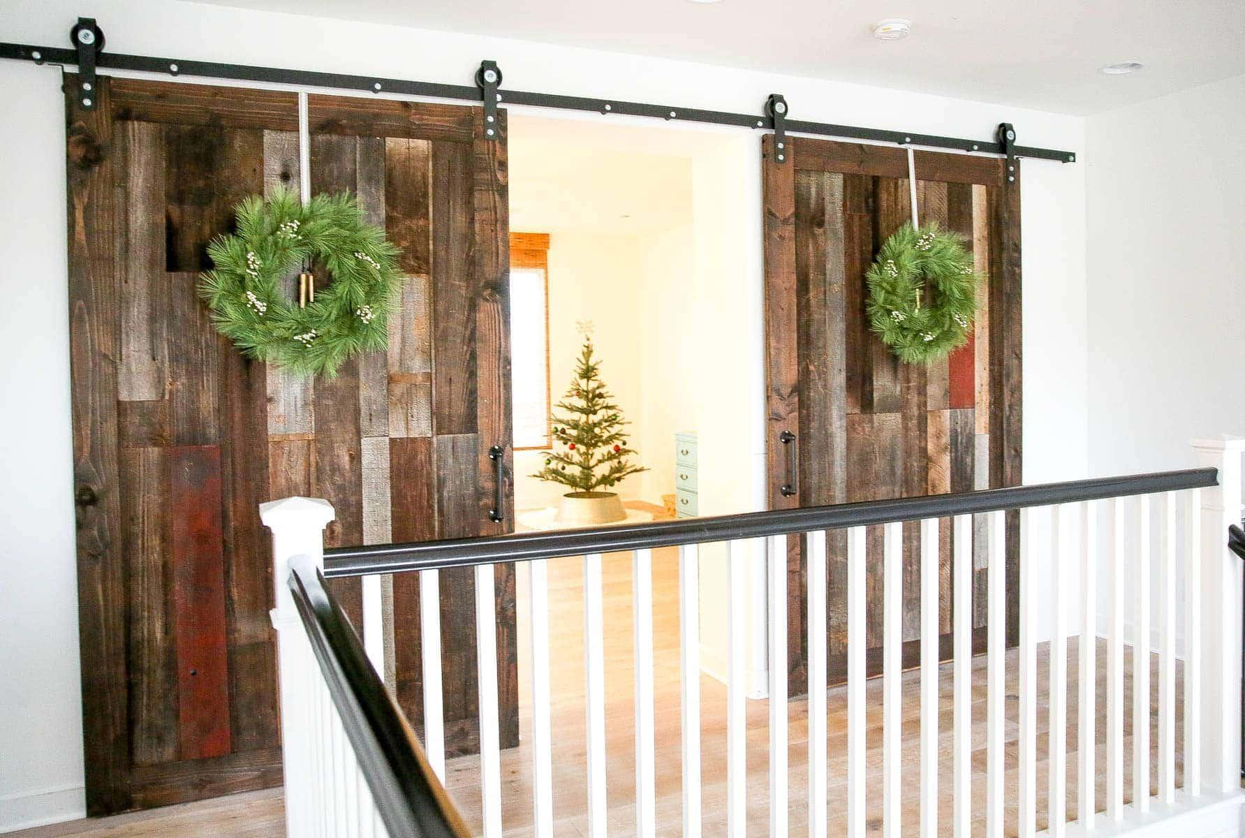 barn doors with christmas wreaths