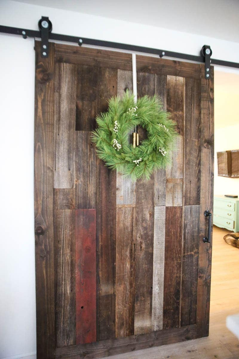 Barn doors with christmas wreath