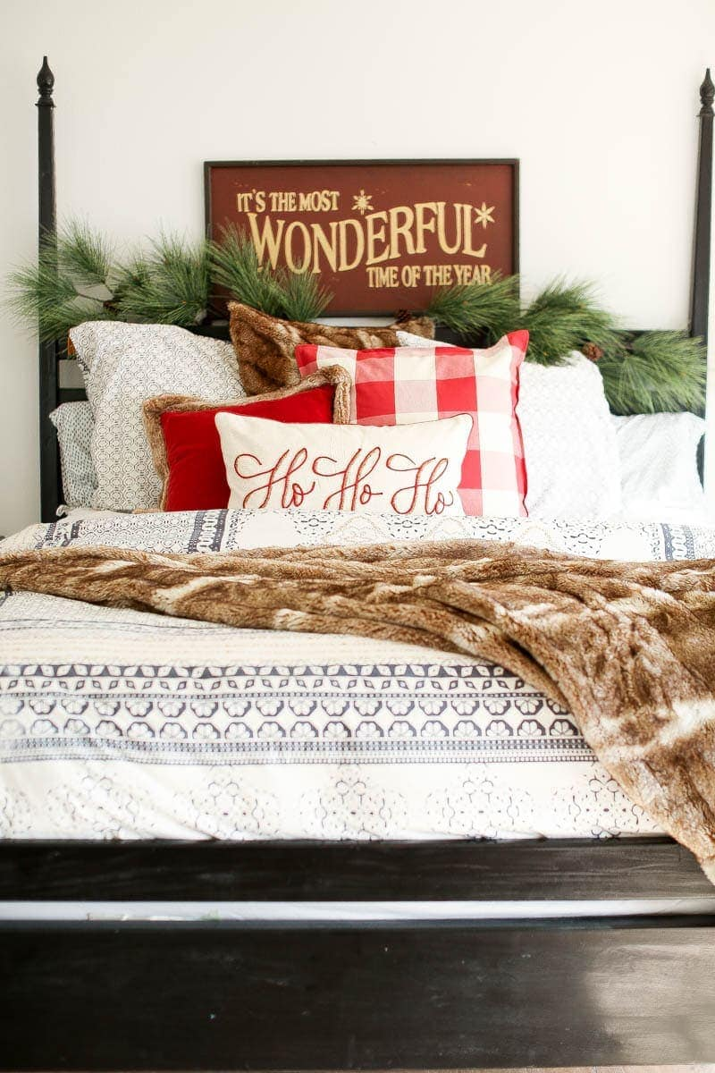 master bed christmas decor