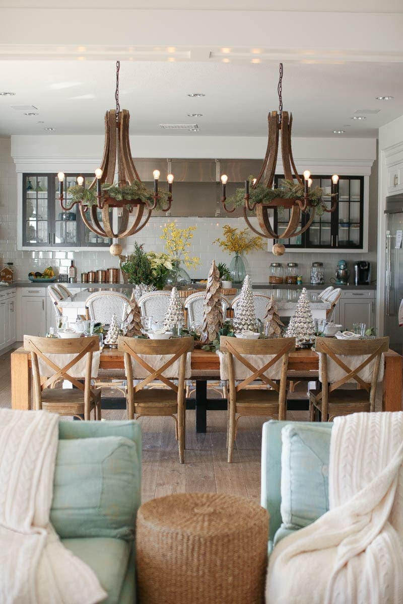Greenery for the chandeliers