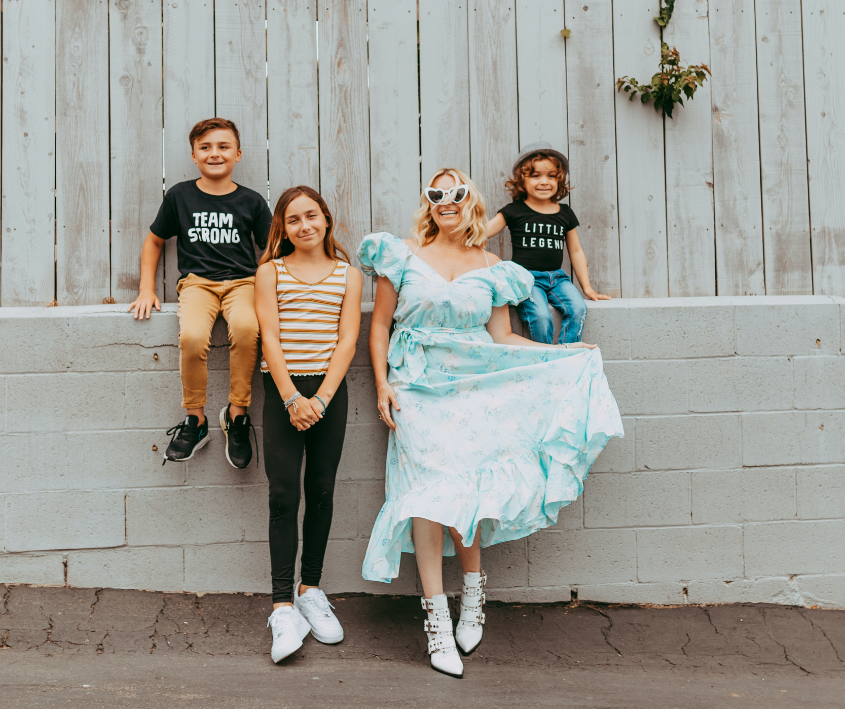 mom and kids outside