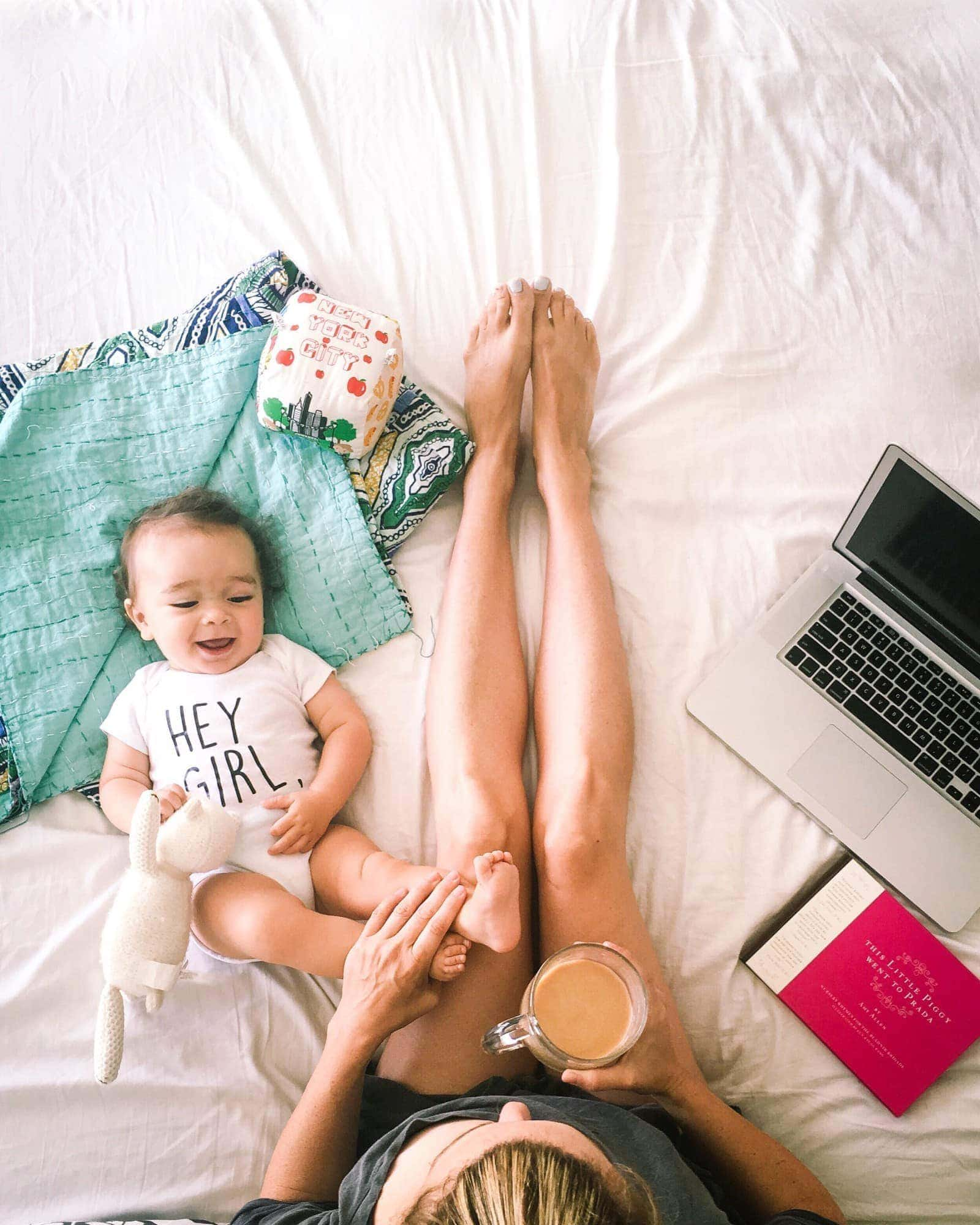 working mom with baby
