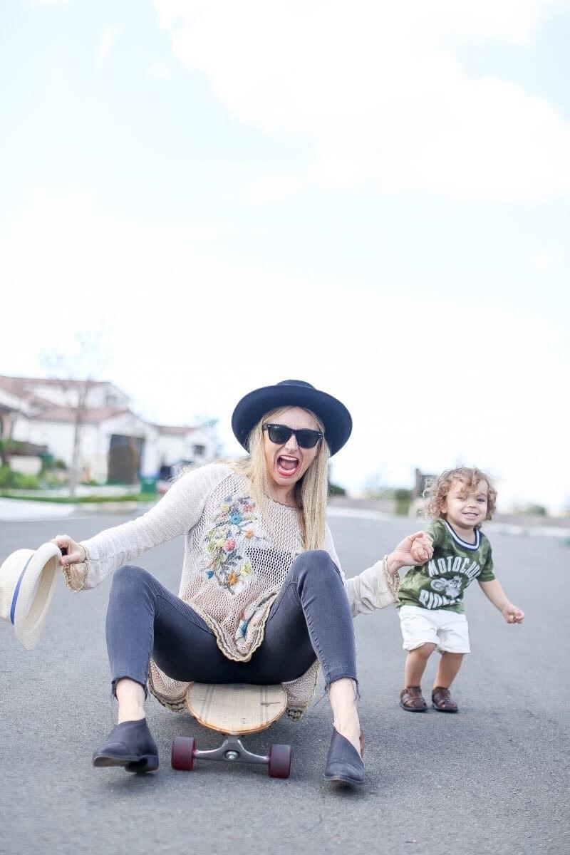 mom and son skateboarding