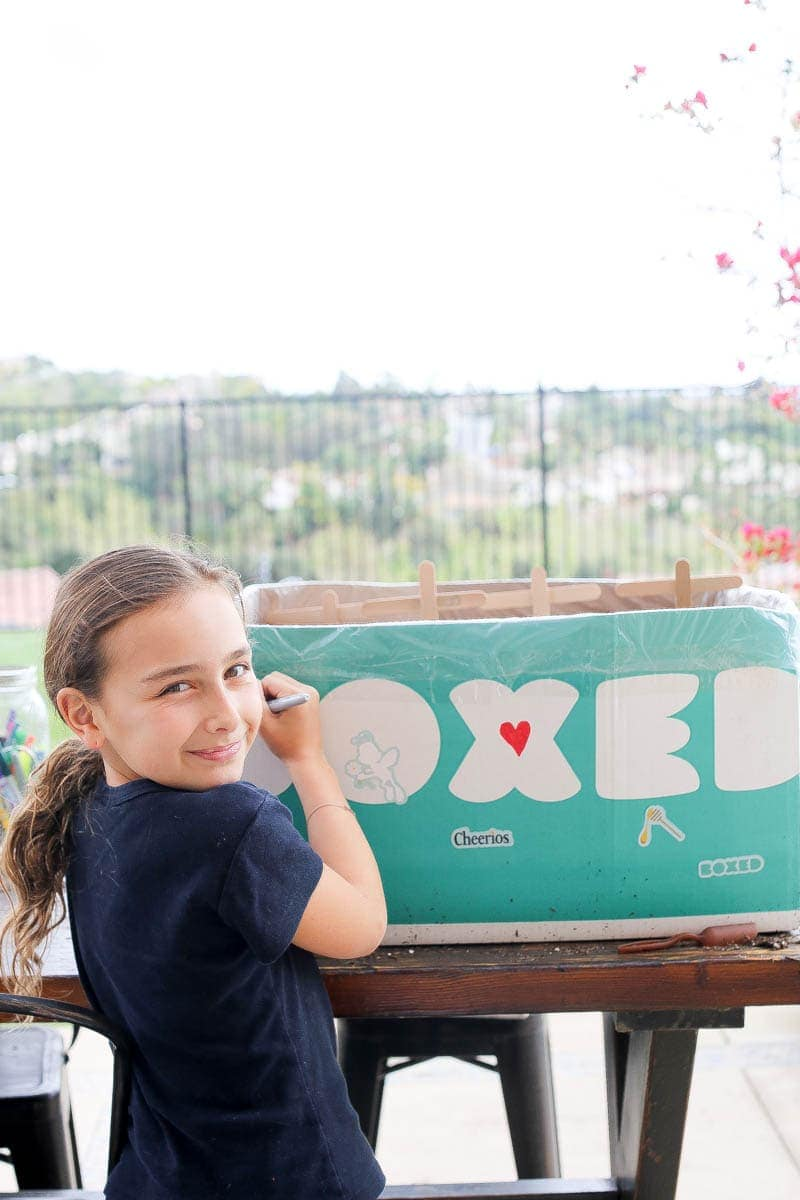 Girl decorating the Boxed mini garden for saving bees