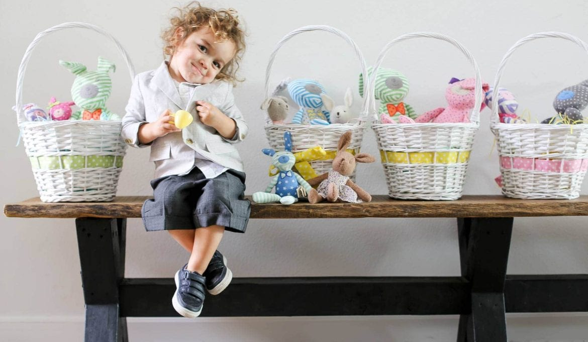 boy with easter baskets