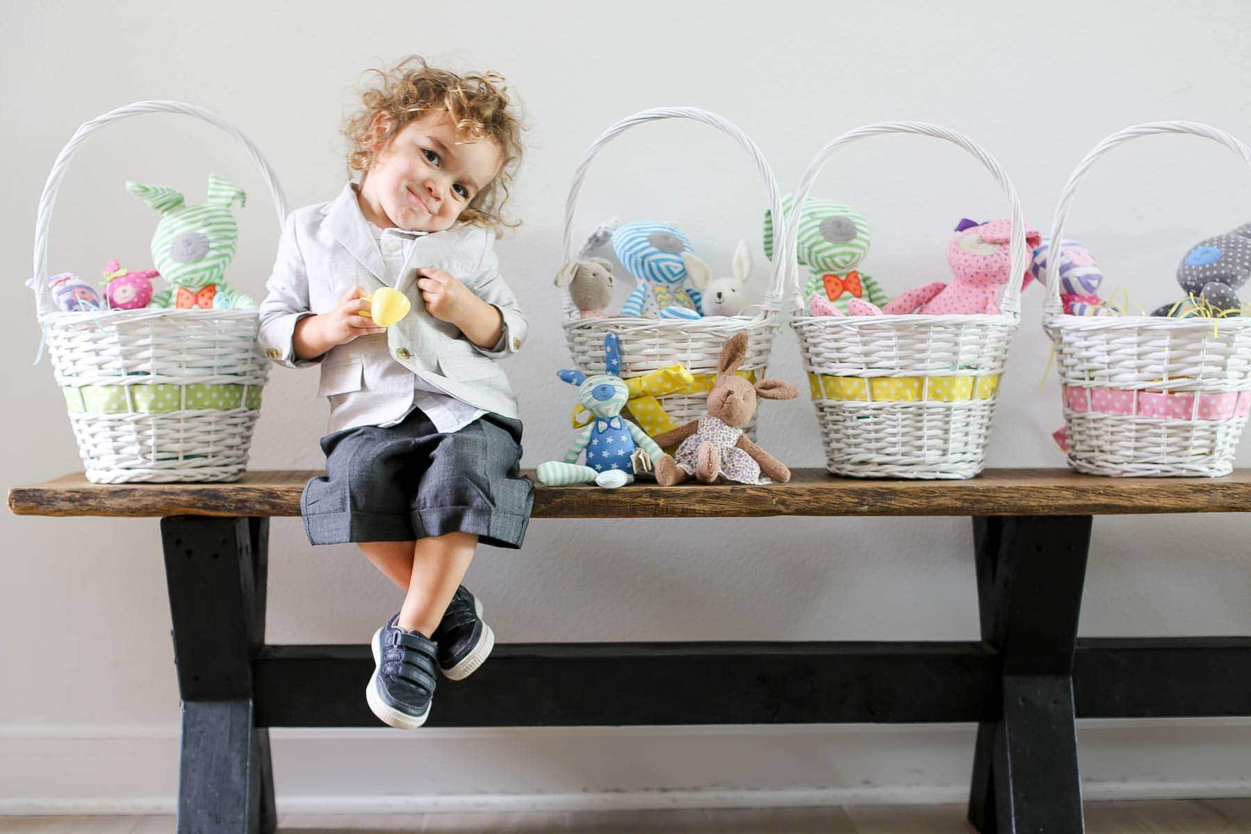 child with easter baskets