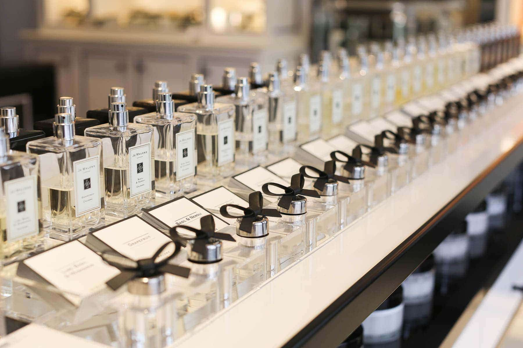 row of perfume bottles
