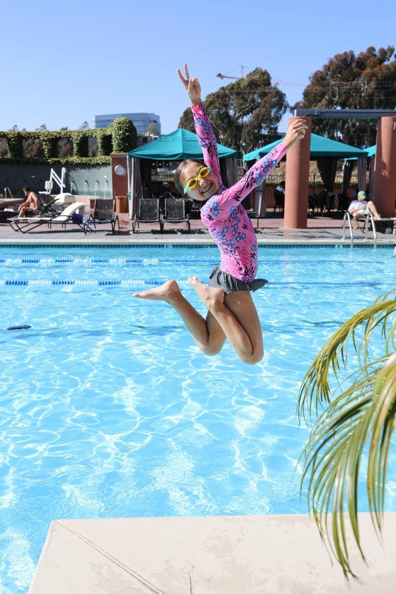 Kids Jumping Into Swimming Pool #citygirlgonemom #hyattregency #lajollasandiego #lajolla