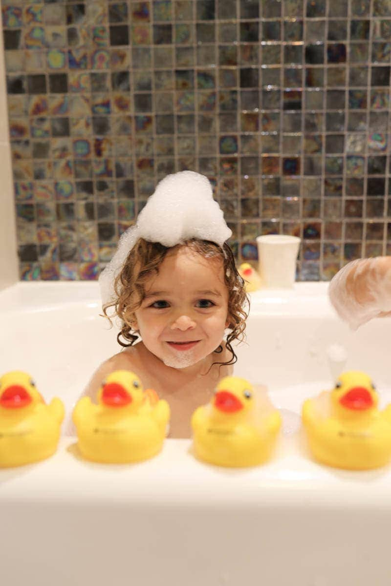 Happy Kid Enjoying Bath Time #citygirlgonemom #hyattregency #lajollasandiego #lajolla