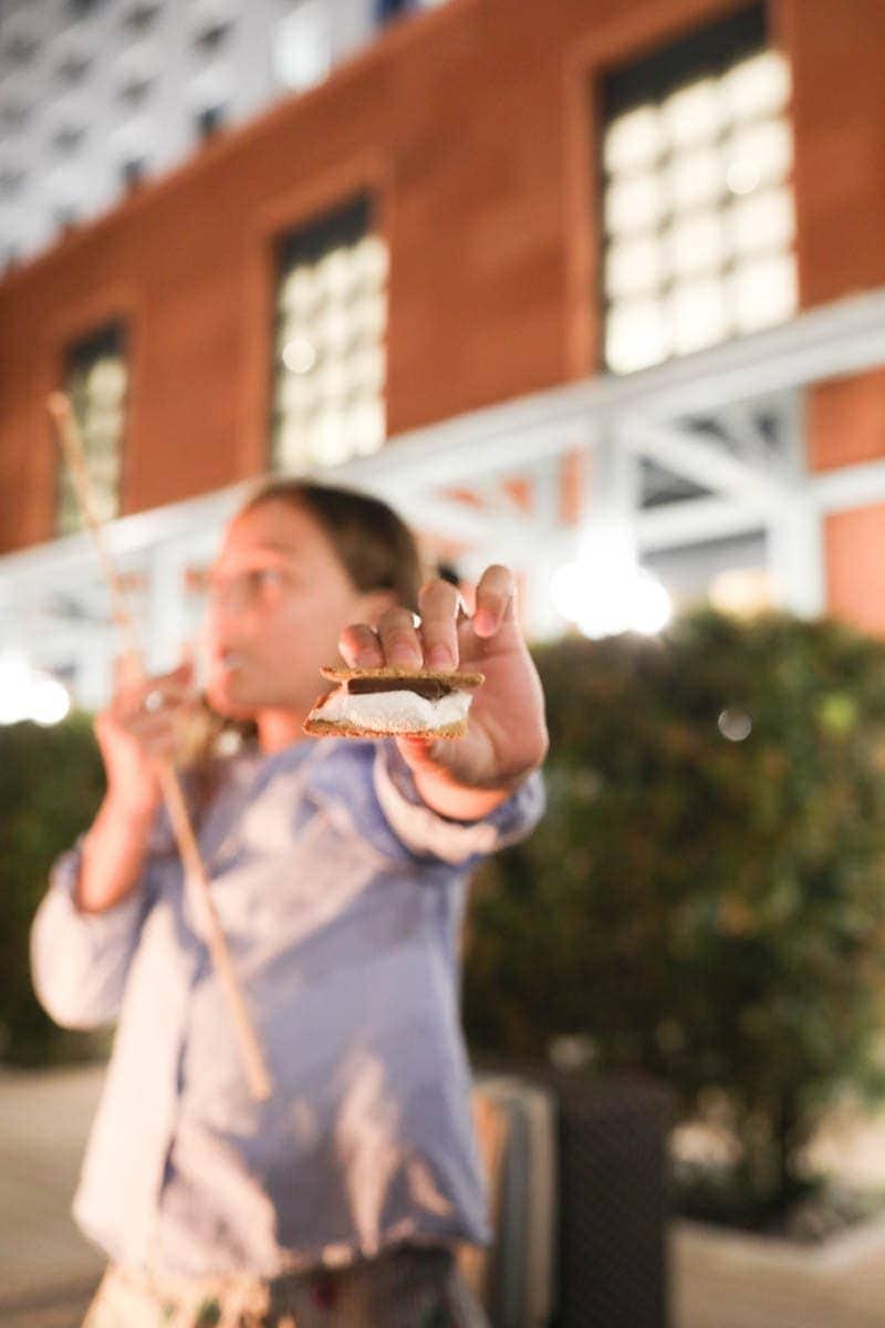 Kid Holding S'mores #citygirlgonemom #hyattregency #lajollasandiego #lajolla