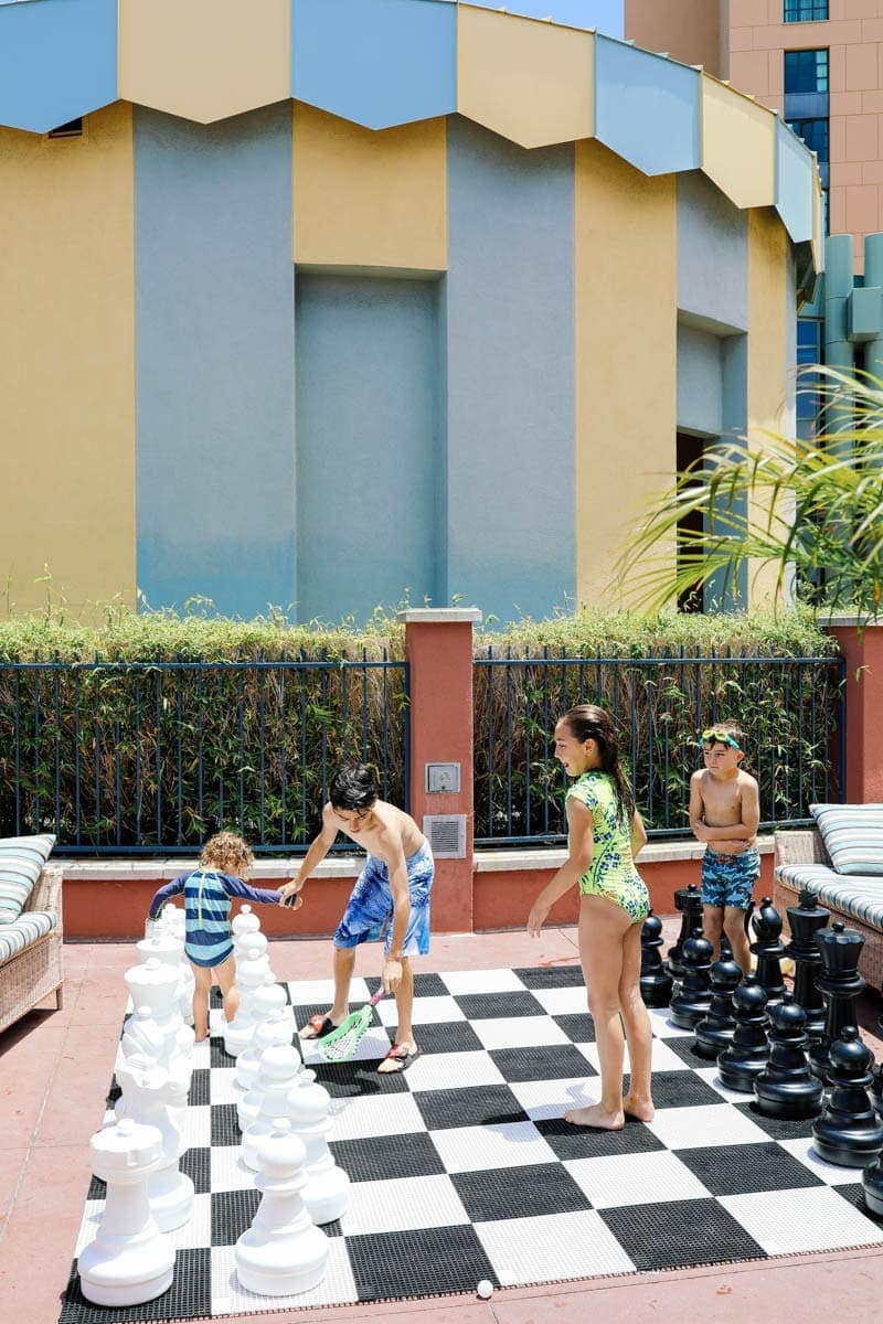 Children Playing Big Chess Outdoor #citygirlgonemom #hyattregency #lajollasandiego #lajolla