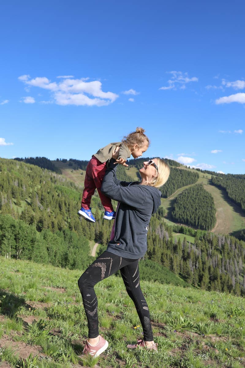 mom and baby on mountain