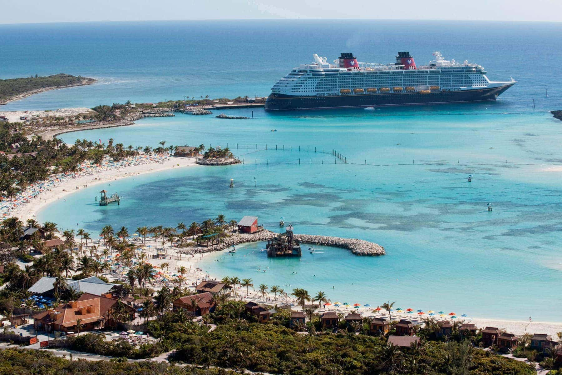 Disney Cruise docks at Castaway Cay