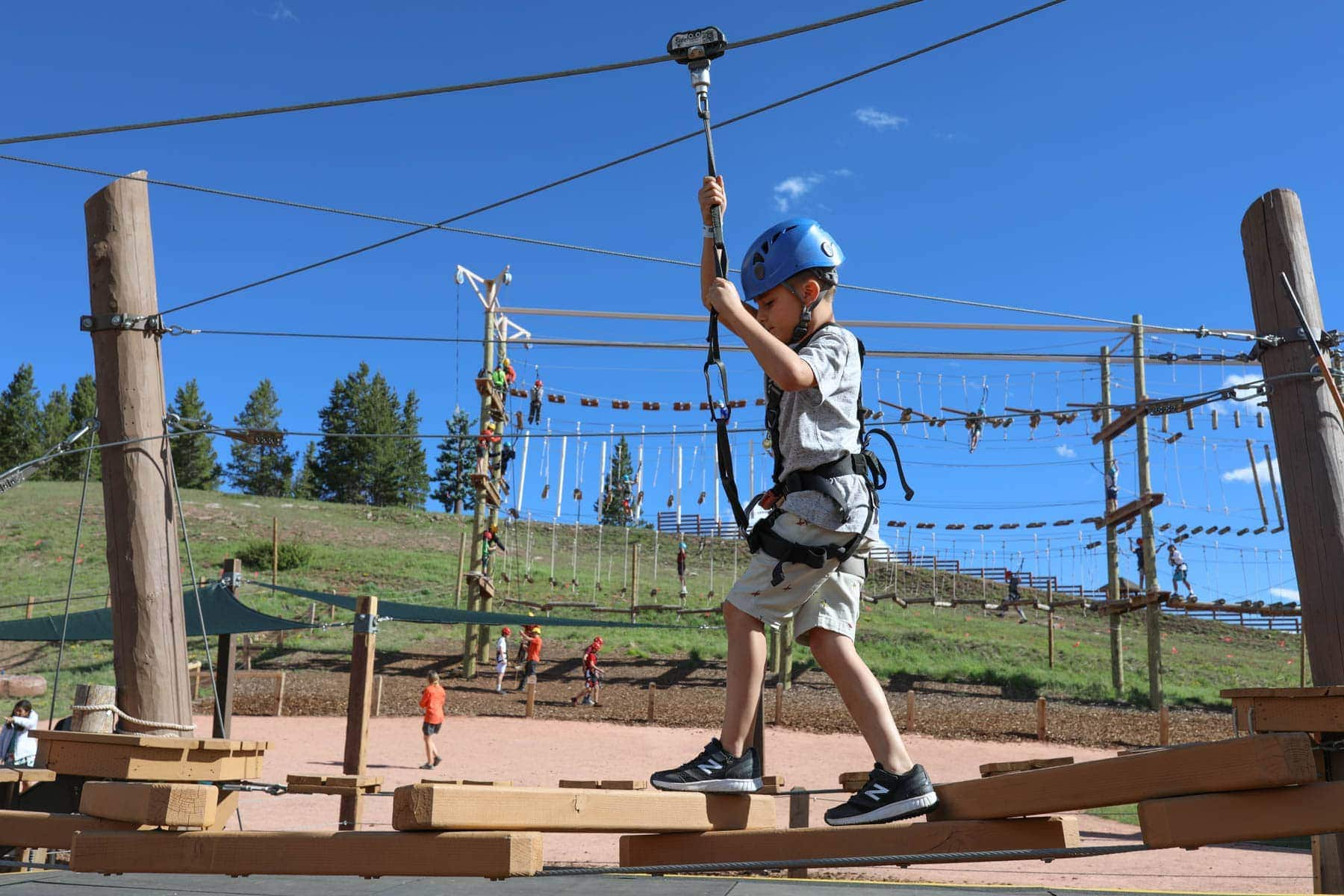 Boy Carefully Holding the Rope #summer #vailcolorado #vacation #citygirlgonemom