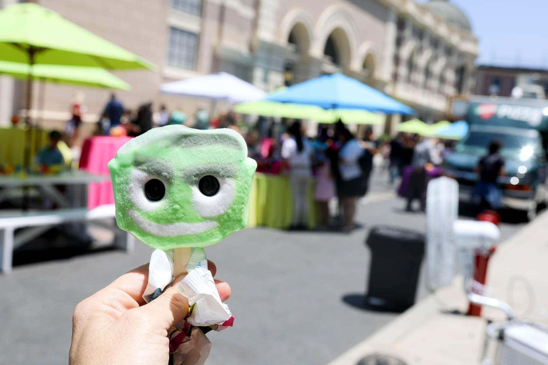 Unique Green and White with a Face Ice Pop #hollywood #warnerbrothers #teentitansgotothemovies #citygirlgonemom