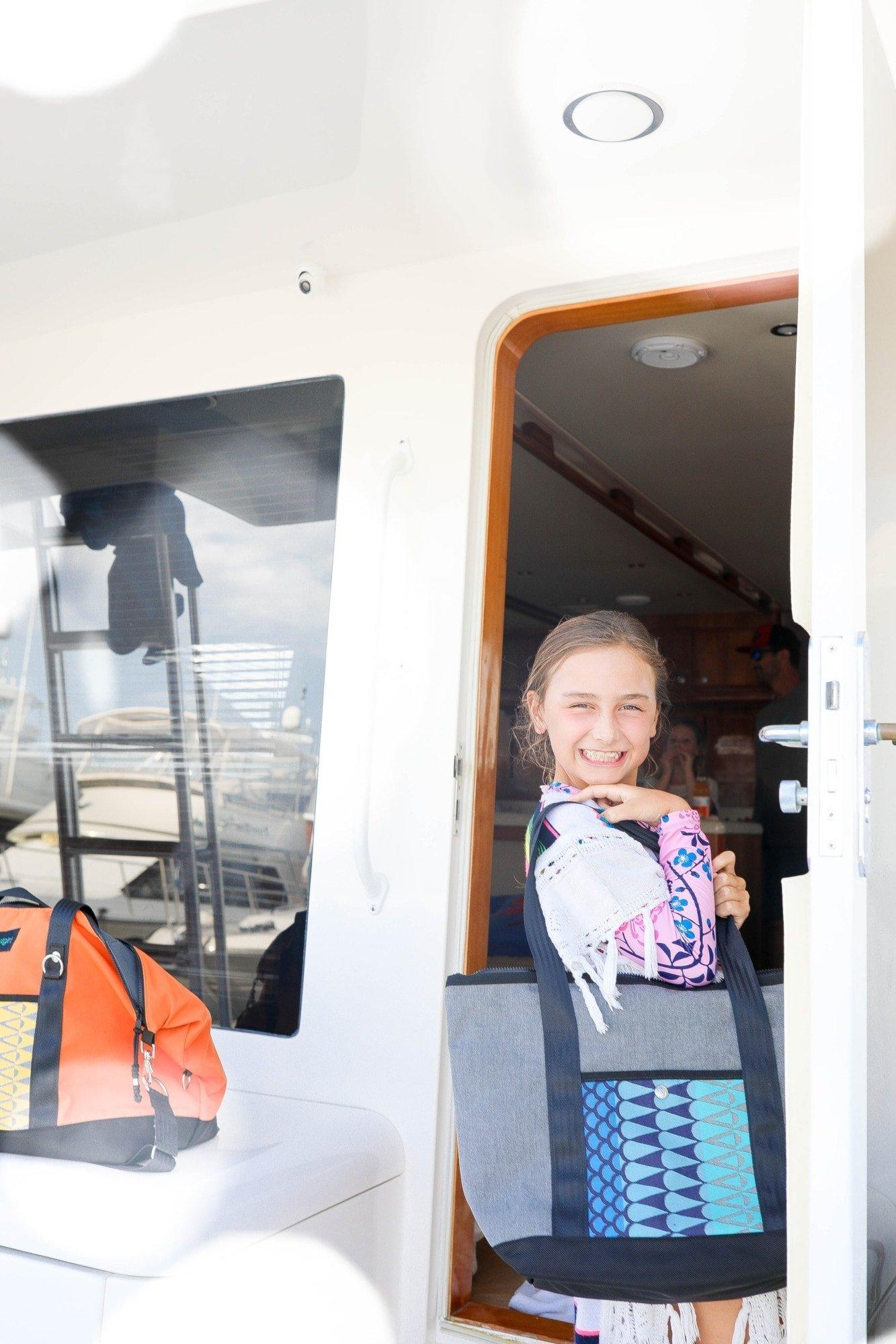 boat girl bag on boat