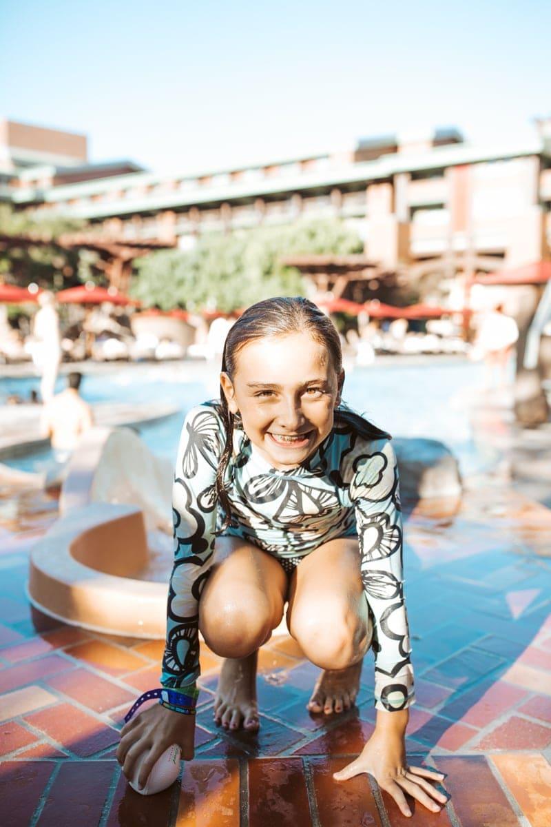 Girl at disney Grand California Pool
