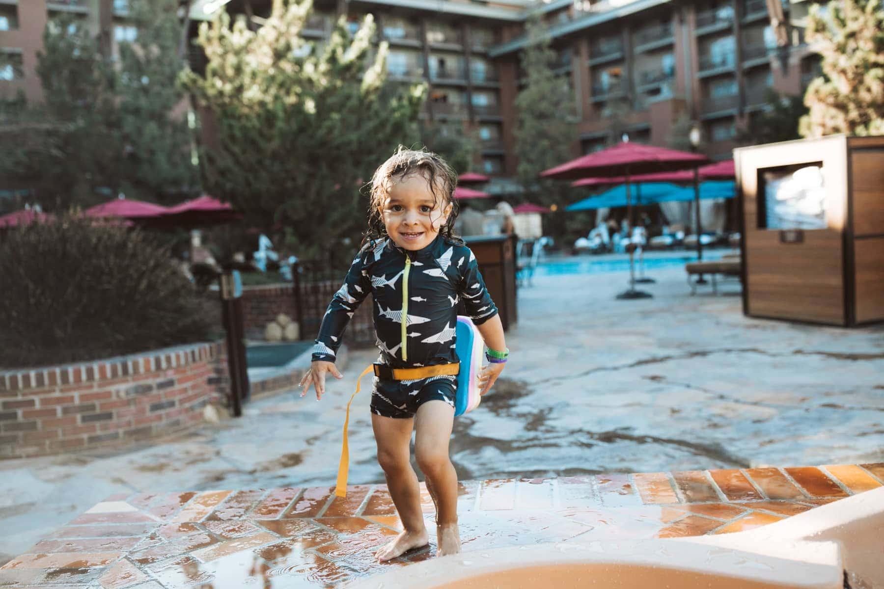 toddler at pool